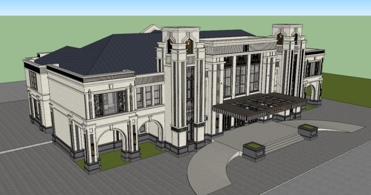 欧陆风格正荣会所模型建筑设计DC国际