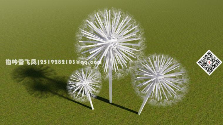 景观小品精选模型设计-抽象蒲公英雕塑景观小品