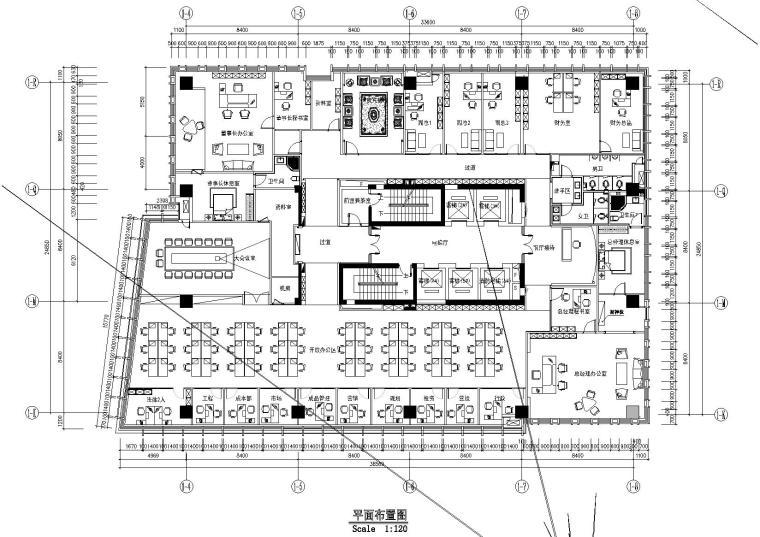 [重庆]帝凯设计-长江国际办公楼CAD施工图+效果图