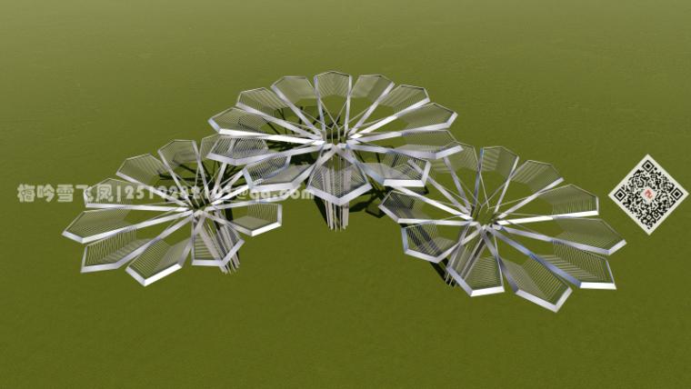 景观小品精选模型设计-创意伞状蜂窝状构架构筑物1