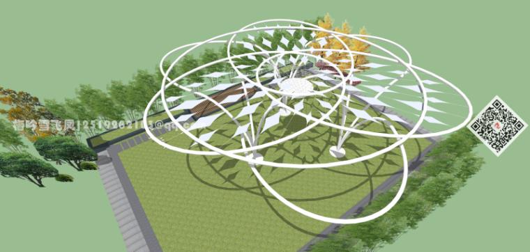景观小品精选模型设计-现代创意景观花架构架