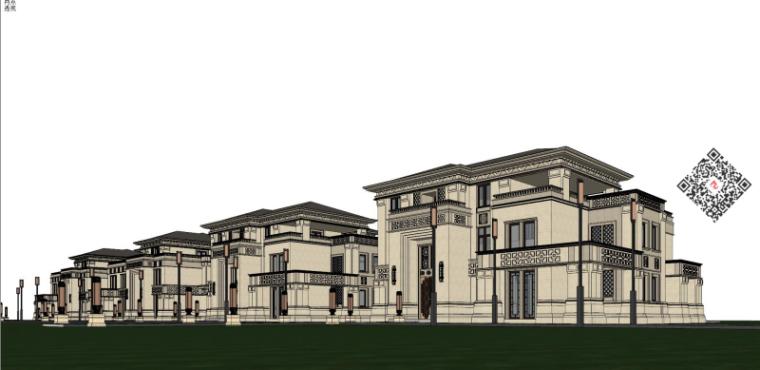 龙湖高尔夫山庄独栋别墅建筑模型设计中式风格