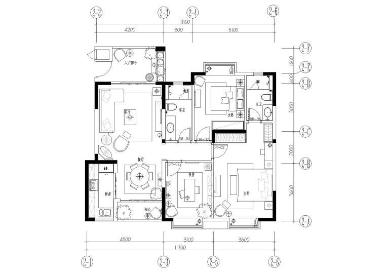 [海南]生态高档社区欧式三居室样板房设计装修图