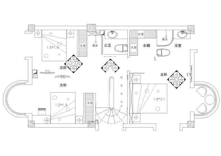 [厦门]风景秀丽山庄简欧三层别墅室内装修施工图(含效果)
