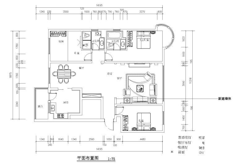 [分享]简欧三室两厅cad平面图资料下载
