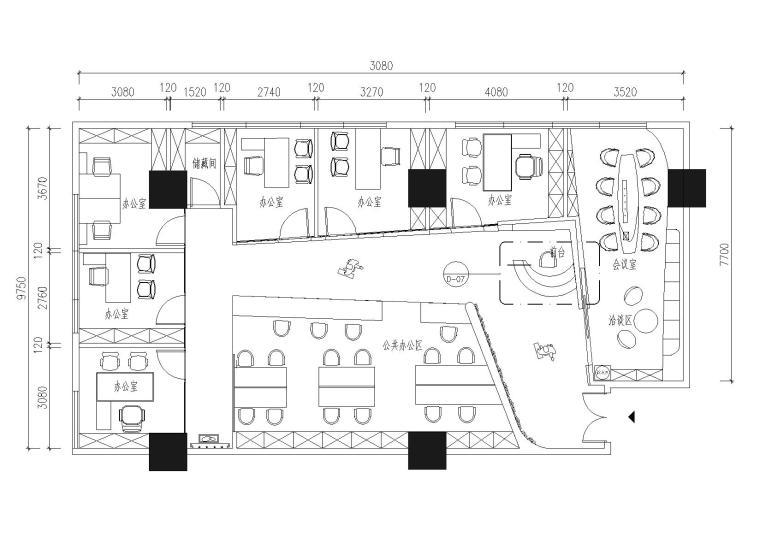 [深圳]现代时尚装饰公司办公楼装修施工图(含效果)