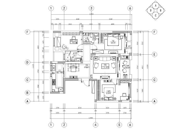 [杭州]高端大气简欧风格三居室样板房室内装修施工图