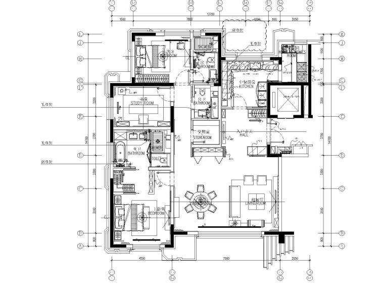CCD-北京丰台区花乡樊家村175㎡样板间室内装修施工图+方案+效果图