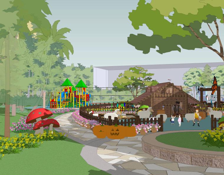 [海南]JWDA-三亚中粮亚龙湾瑞吉酒店户外儿童乐园景观方案+草图效果+SU模型