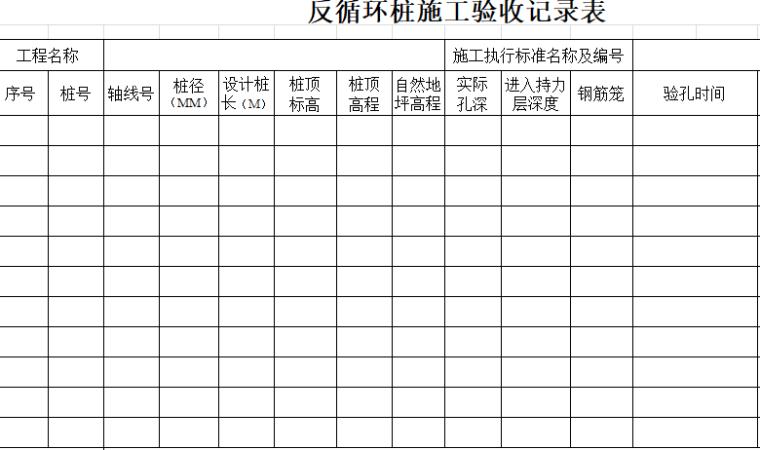 反循环桩施工验收记录表