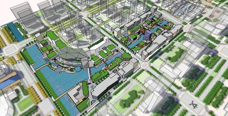 城市河道建筑SketchUp模型下载