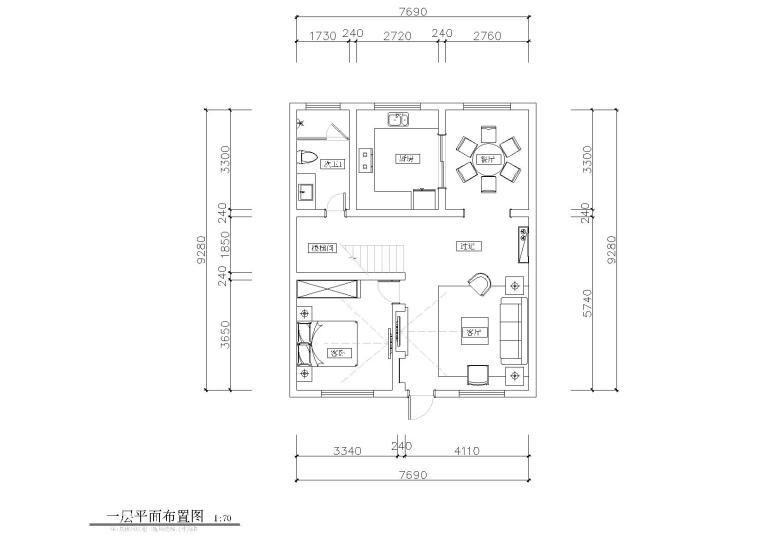 [江苏]某复式别墅样板间CAD施工图+效果图