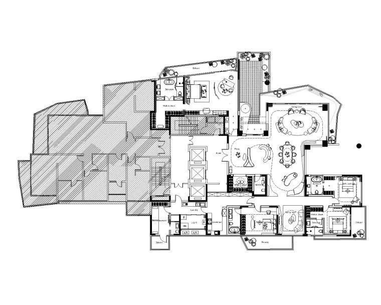 [四川]HWCD-成都万华麓湖450平大平层豪宅样板间CAD平面图+PPT设计方案+效果图