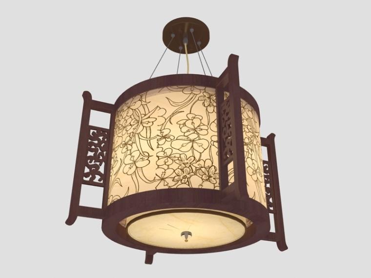 中式花纹吊灯3D模型下载