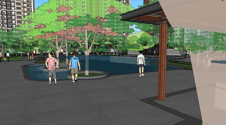 [广东]佛山绿岛湖住宅景观设计SU模型(含方案文本+CAD图)