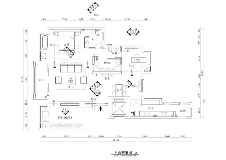 [武汉]光谷桂花城蔡景暄住宅CAD施工图+效果