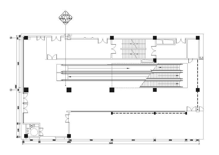 负一层轴8b-9b扶手电梯平面图