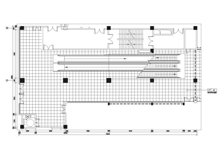 负一层轴8b-9b扶手电梯地面图