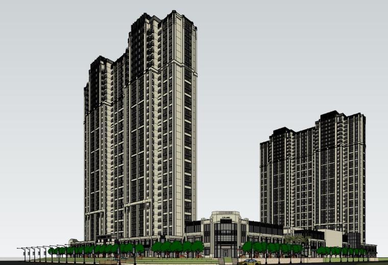 南宁万象城模型资料下载-[江西]华润赣州万象城新古典高层住宅建筑模型设计