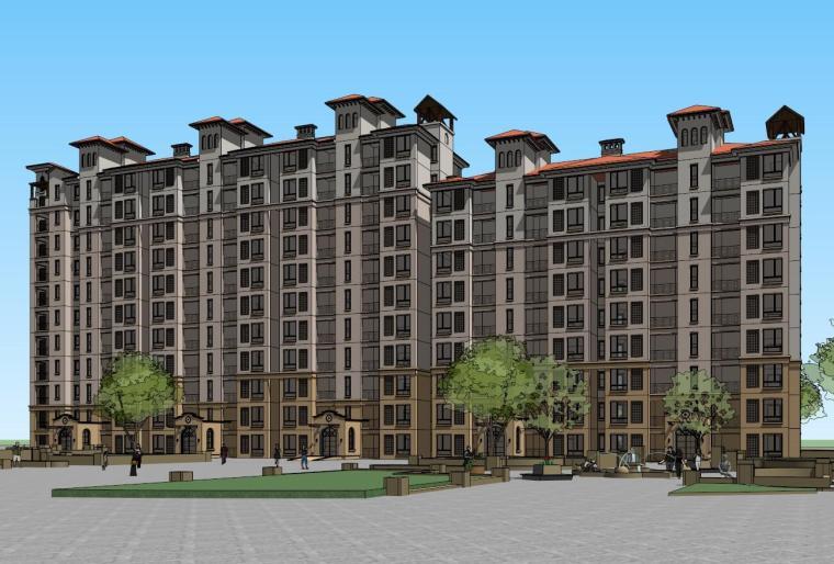 地中海风格保利居住区建筑模型设计