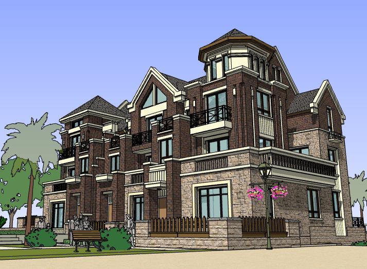 欧陆风格三拼别墅建筑模型设计