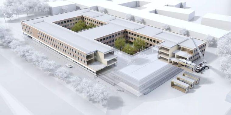 木结构模块式临时校园封顶|gmp