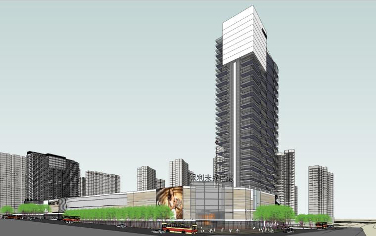 现代风格保利未来商业广场建筑模型设计