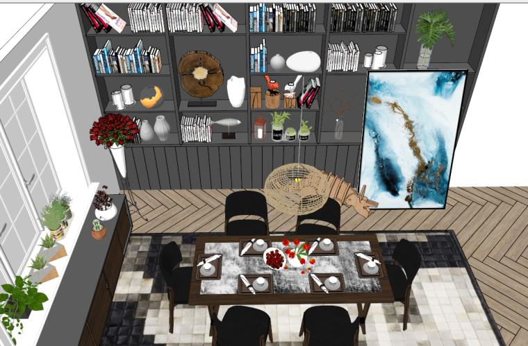 现代风格loft现代餐厅模型设计