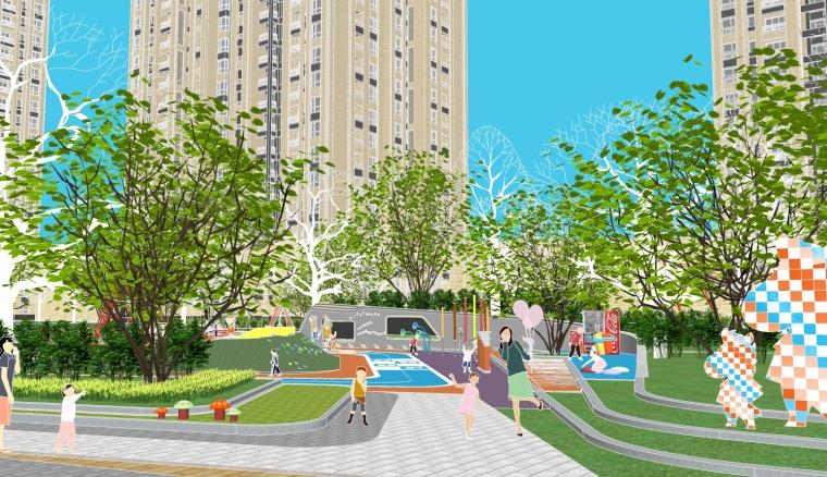 [重庆]东原湖山樾住宅区游泳池儿童活动场地SU模型(含方案文本)现代风格