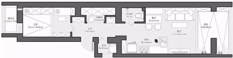 54平长条形小户型二居室,通透的布局保证了空间的采光!
