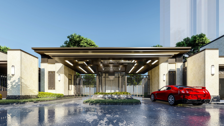 新中式风格康桥悦城入口+沿街商业建筑设计