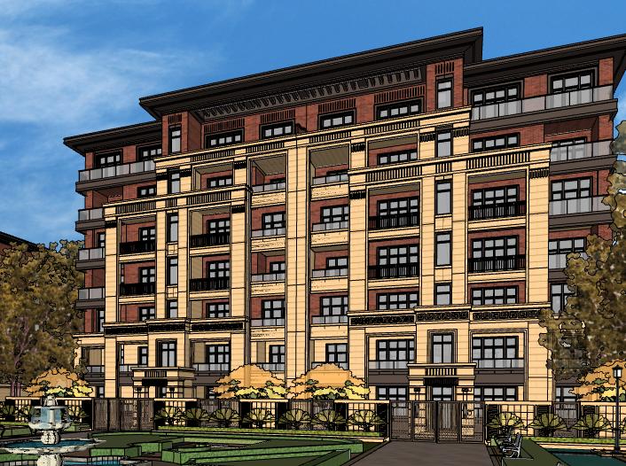 新古典风格多层住宅建筑模型设计(水石)