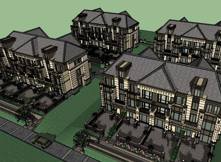 新古典联排别墅建筑模型设计(水石)