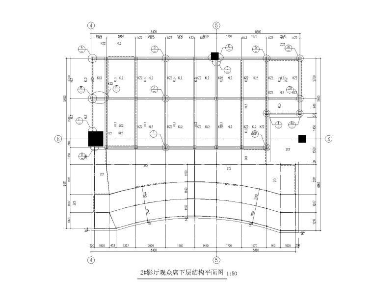 2#影厅观众席下层结构平面图