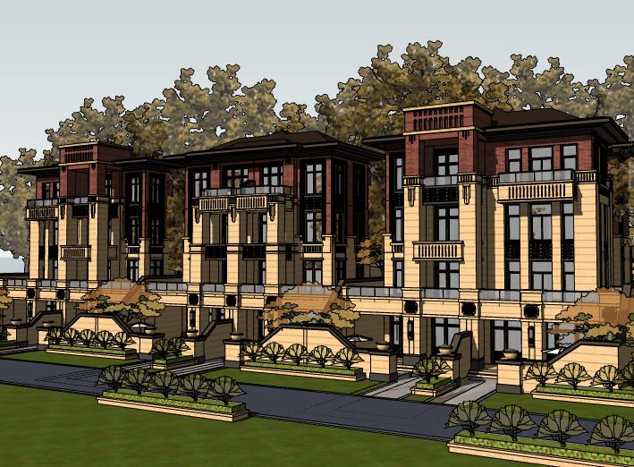 新古典风格别墅建筑模型设计(水石)