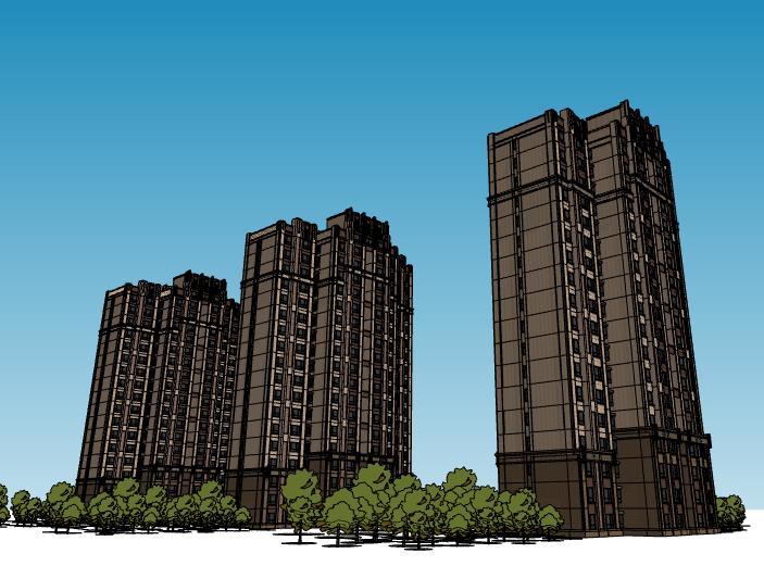 新古典风格小高层住宅建筑模型设计(水石)