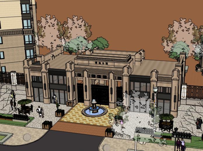 绿地公馆入口建筑模型设计(新古典+水石)