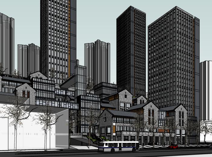 新中式商业综合体建筑模型设计