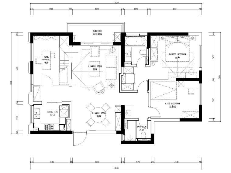 [浙江]杭州春江彼岸现代风格两居室板房室内装修全套施工图+效果图
