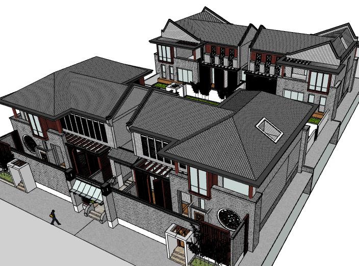新中式院子建筑模型设计