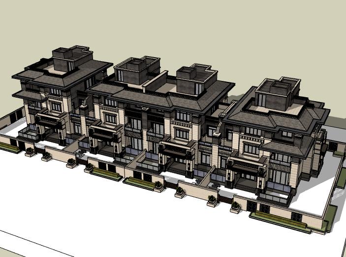 法式风格三层联排别墅建筑模型设计(水石)