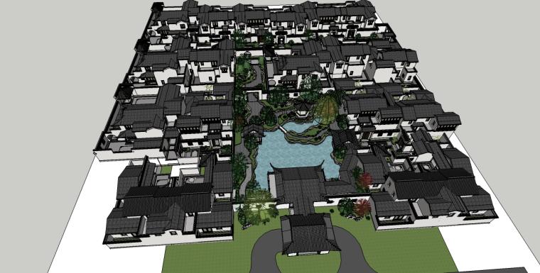 南宁万象城模型资料下载-绿城中式街巷空间SU模型(将军门、入户门)