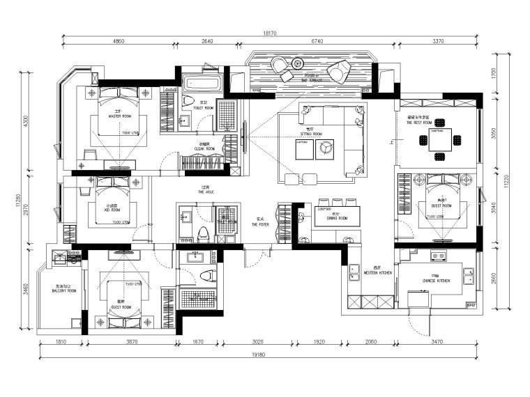 龙湖春江彼岸现代风格四居室样板房室内装修全套施工图+效果图