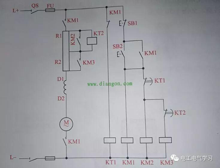 说说一张串励直流电动机启动电路图