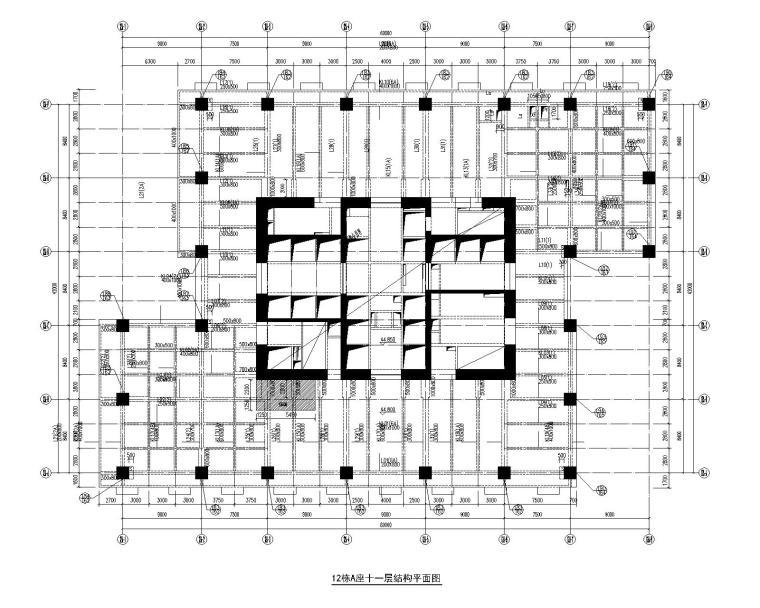 A座十一层结构平面图