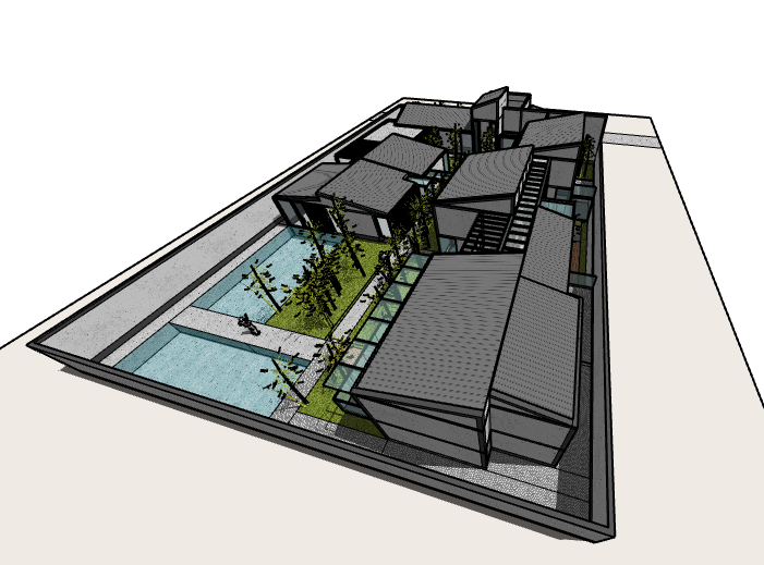 新中式院落住宅建筑模型设计