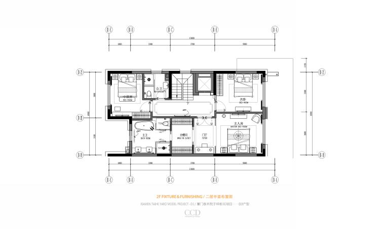 CCD-泰禾厦门院子叠拼四居室别墅样板房概念深化方案+高清效果图丨46P-08 D3 二层平面布置图
