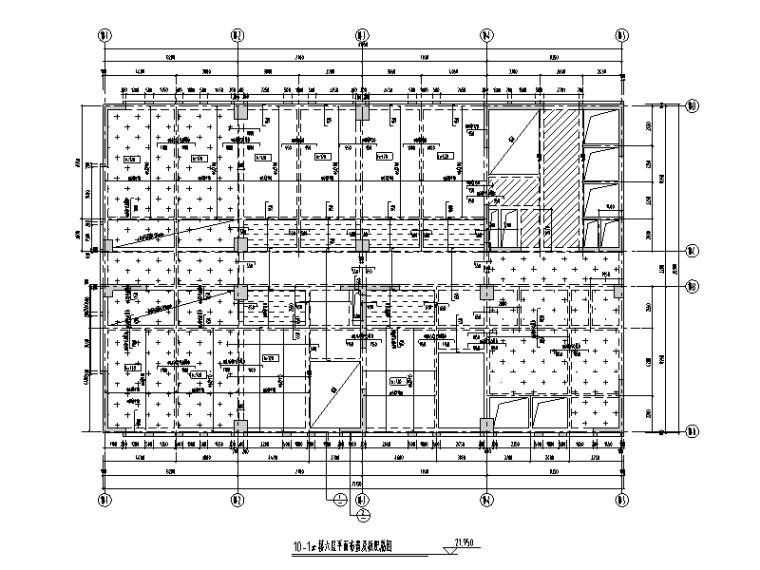 10#楼六层平面布置及板配筋图