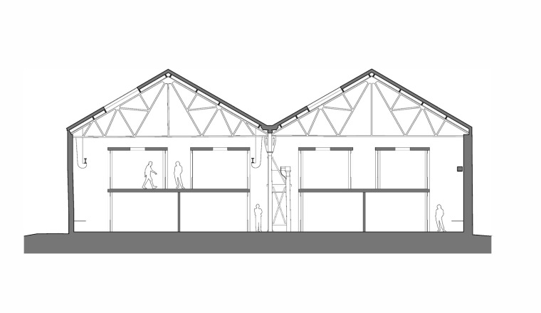 英国Forge办公室和展览建筑-Emrys_The_Forge__Section