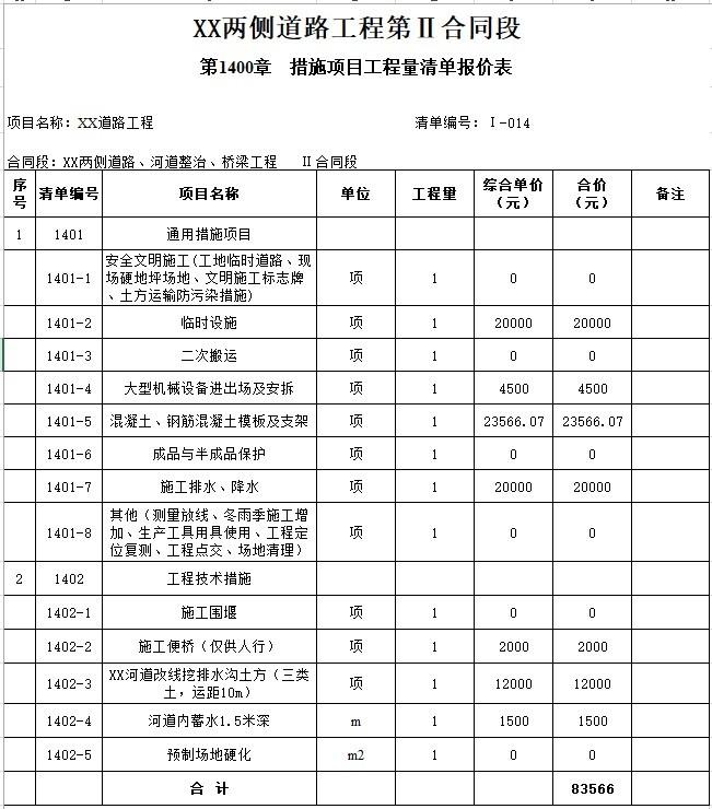 8、措施项目工程量清单报价表